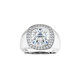 #3734 Heavy Platinum H & A Diamonds 4.5 ct. Cushion-Cut Diamond Men's Halo Ring - Solitaire Diamond Sold Separately