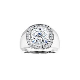 #3734 Heavy Platinum H & A Diamonds 4.5 ct. Cushion-Cut Diamond Men's Halo Ring - Solitaire Diamond Sold Separately