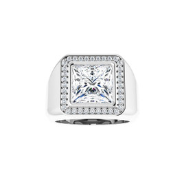 #3760 Heavy Platinum CanadaMark Conflict Free Diamonds 5 ct. Square-Cut Diamond Men's Halo Ring - Solitaire Diamond Sold Separately