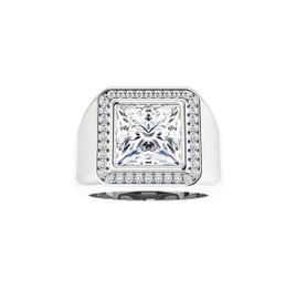 #3760 Heavy Platinum CanadaMark Conflict Free Diamonds 5 ct. Square-Cut Diamond Men's Halo Semi-Mount Ring - Solitaire Diamond Sold Separately