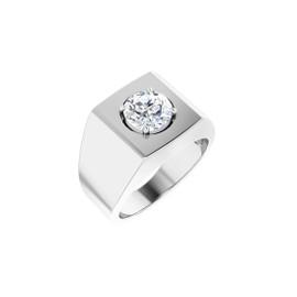 #10616 Heavy Platinum 2 carat Round-Cut Diamond Men's Sport Solitaire Ring - Diamond Sold Separately