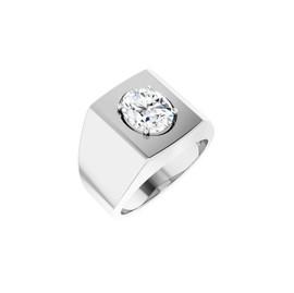 #10617 Heavy Platinum 2.5 carat Oval-Cut Diamond Men's Sport Solitaire Ring - Diamond Sold Separately