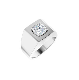 #10618 Heavy Platinum 2 carat Cushion-Cut Diamond Men's Sport Solitaire Ring - Diamond Sold Separately