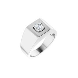 #10619 Heavy Platinum 2 carat Asscher-Cut Diamond Men's Sport Solitaire Ring - Diamond Sold Separately