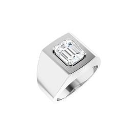 #10620 Heavy Platinum 3 carat Emerald-Cut Diamond Men's Sport Solitaire Ring - Diamond Sold Separately