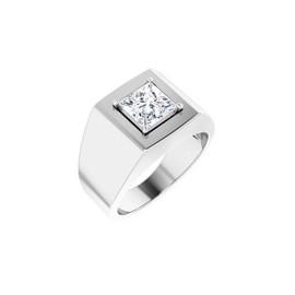 #10621 Heavy Platinum 2 carat Square-Cut Diamond Men's Sport Solitaire Ring - Diamond Sold Separately