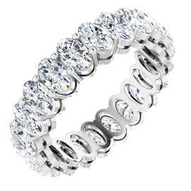 #10627 Natural 4.50 CTW Oval Cut Diamond Eternity Ring, Size 4