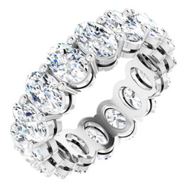 #10628 Natural 7 CTW Oval Cut Diamond Eternity Ring, Size 4