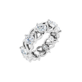 #10637 Size 3, Natural 2.25 CTW H&A Super Ideal Cut Diamond Eternity Ring
