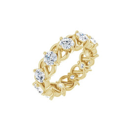 #10639 Size 7, Natural 2.75 CTW H&A Super Ideal Cut Diamond Eternity Ring