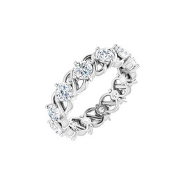 #10640 Size 9, Natural 3.00 CTW H&A Super Ideal Cut Diamond Eternity Ring