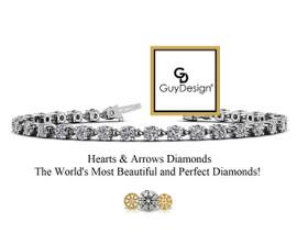 #11BA, Natural Hearts & Arrows 7 Carats Super Ideal Cut Diamond Every Day Bracelet, Each Diamond is 1/4th of a Carat.