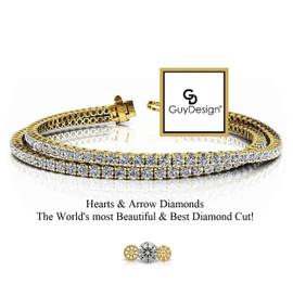 #11CB, Natural Hearts & Arrows Super Ideal Cut Diamond 2 Layered Stack Bracelet