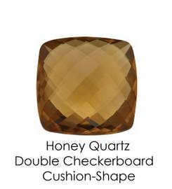 #10651 Honey Quartz - Double Checkerboard - Cushion Cut 14x14