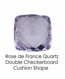 #10652 Rose de France Quartz - Double Checkerboard - Cushion Cut 14x14