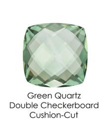 #10653 Green Quartz - Double Checkerboard - Cushion Cut 14x14