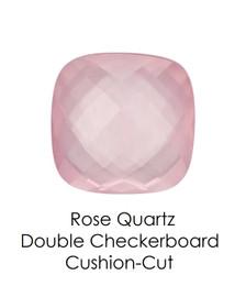 #10654 Rose Quartz - Double Checkerboard - Cushion Cut 14x14