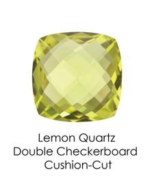 #10655 Lemon Quartz - Double Checkerboard - Cushion Cut 14x14