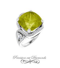 #3BF Checkerboard Lemon Quartz Diamond Halo Ring