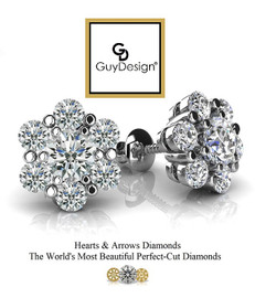 #3AD Natural Hearts & Arrows Super Ideal Cut Diamond Stud Cluster Earrings 14K White Gold