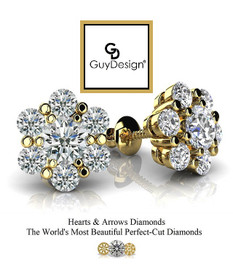 #3DH Natural Hearts & Arrows Super Ideal Cut Diamond Stud Cluster Earrings 14K Yellow Gold