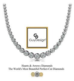#9AF Natural Hearts & Arrows 5.50 ct. Super Ideal Cut Diamond Platinum Necklace 19 inches Long