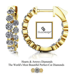 """#2AF Natural Hearts & Arrows 1.76 ct. Super Ideal Cut Diamond Hoops 5/8ths"""" Long 14k Yellow Gold"""