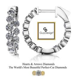 "#11CG Natural Hearts & Arrows 1.76 ct. Super Ideal Cut Diamond Hoops 5/8ths"" Long 14k White Gold"