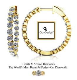 "#5FG Natural Hearts & Arrows 2.72 ct. Super Ideal Cut Diamond Hoops 7/8ths"" Long 14k Yellow Gold"