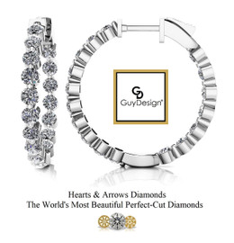 """#20AD Natural Hearts & Arrows 2.72 ct. Super Ideal Cut Diamond Hoops 7/8ths"""" Long 14k White Gold"""