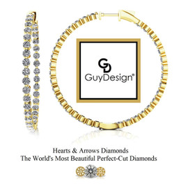 "#3BG Natural Hearts & Arrows 5.6 ct. Diamond Hoops 1.75"" Long 14k Yellow Gold"