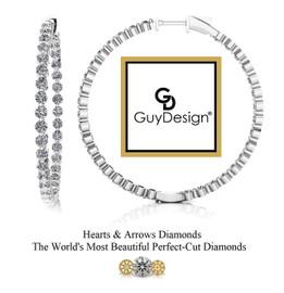 "#6DA Natural Hearts & Arrows 5.6 ct. Diamond Hoops 1.75"" Long 14k White Gold"