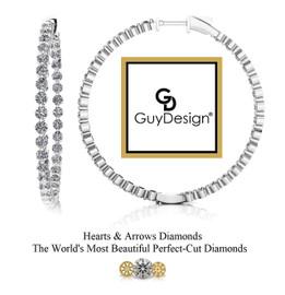 "#6DA Natural Hearts & Arrows 5.6 ct. Super Ideal Cut Diamond Hoops 1.75"" Long 14k White Gold"