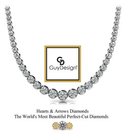 #5FH Natural Hearts & Arrows 5.32 ct. Diamond Platinum Necklace 18 inches Long