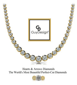 #25AT Natural Hearts & Arrows 5.95 ct. Diamond 18K Yellow Gold Necklace 20 inches Long