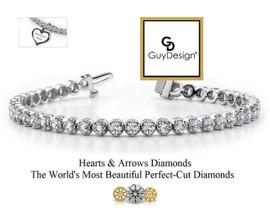 #2AE, Natural Hearts & Arrows Super Ideal Cut Diamond 5.25 Carat, 8 Inch Bracelet, Charm Option, 14 Karat White Gold.