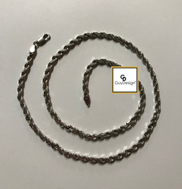 3AF 4-Millimeter Diamond Cut Solid French Rope Chain 16 Inches, 14K White Gold