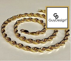 #6GG 4-Millimeter Diamond Cut Solid French Rope Chain 20 Inches, 14K Yellow Gold