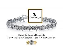 #3TA Natural Hearts & Arrows Super Ideal Cut Diamond 7.56 Carat Winston Style Bracelet, 7 Inch, 18 Karat White Gold.