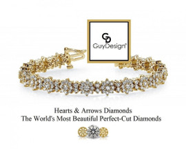 #22AD Natural Hearts & Arrows Diamond 7.56 Carat Winston Style Bracelet, 7 Inch, 18 Karat Yellow Gold.