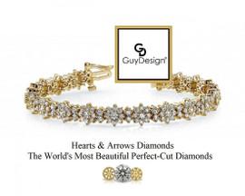 #22AD Natural Hearts & Arrows Super Ideal Cut Diamond 7.56 Carat Winston Style Bracelet, 7 Inch, 18 Karat Yellow Gold.