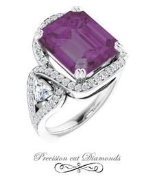 #3EA GuyDesign®, 8.37 Ct Emerald Cut Lab-Grown Created Alexandrite: Halo & Gemstone Engagement Ring: Natural Diamonds 14k White Gold Custom Jewelry