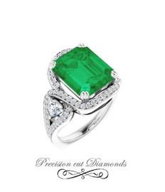 #3CA GuyDesign®, 5.65 Ct Emerald Cut Lab-Grown Created Emerald: Halo & Gemstone Engagement Ring: Natural Diamonds 14k White Gold Custom Jewelry