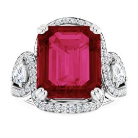 #3DA GuyDesign®, 8.37 Ct Emerald Cut Lab-Grown Created Ruby: Halo & Gemstone Engagement Ring: Natural Diamonds 14k White Gold Custom Jewelry