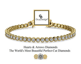 #3BD Natural Hearts & Arrows Ideal Cut Diamond 5.28 carat Art Deco - Edwardian Bracelet, 7.25 Inch, 14k Yellow Gold, Channel Set