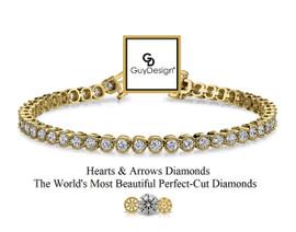 #3BD Natural Hearts & Arrows Super Ideal Cut Diamond 5.28 carat Art Deco - Edwardian Bracelet, 7.25 Inch, 14k Yellow Gold, Channel Set