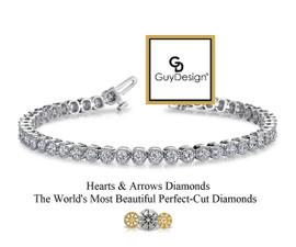 #3CE Natural Hearts & Arrows Super Ideal Cut Diamond 5.28 carat Art Deco - Edwardian Bracelet, 7.25 Inch, 14k White Gold, Channel Set