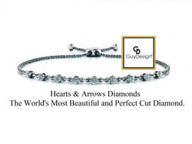 #9AA Natural Hearts & Arrows Ideal Cut Diamond .54 carat Chain Link Bolo Bracelet, 14k White Gold. Each diamond is 1/16th of a carat.