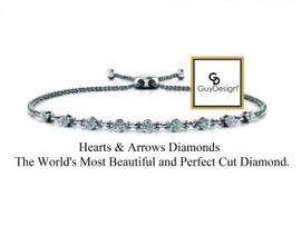 #9AD Natural Hearts & Arrows Super Ideal Cut Diamond 1.40 carat TDW Chain Link Bolo Bracelet, 14k White Gold, Each Diamond is 1/5 of a Carat.