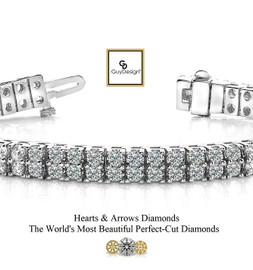 #3BE Natural Hearts & Arrows Super Ideal Cut Diamond 18.20 carat TDW Curved 2 Row Bracelet, Platinum, Each Diamond is 1/5 of a Carat.